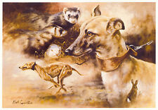 WHIPPET RUNNING HOUND DOG FINE ART PRINT  by the late Mick Cawston + Ferret