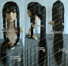 New lady's Anime D.Gray-man Cosplay Kanda Yuu Long black Wig+ hairnet H247