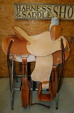 """16"""" G.W. CRATE WADE ROPING SADDLE TRAIL ROPER AMERICAN MADE LEATHER FREE SHIP 17"""