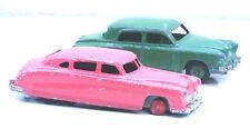 Pair Dinky Toys Diecast Sedan 4 Door Automobile Cars Green & Pink 1/43 Scale