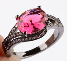 Jewelry Size7 Rose CZ Fashion Black 18K Gold Filled Rings 2.26ct BB70