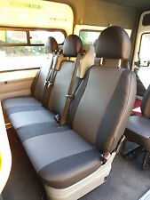 TO FIT A FORD TRANSIT 9 SEATER, 2010, VAN SEAT COVERS, BLACK & GREY LEATHERETTE