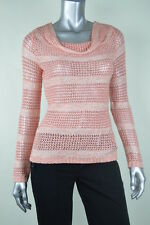 INC New Womens Coral Striped Open Stitch Sequin Pullover Sweater Top MSRP$79 XS