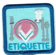 Girl Boy Cub ETIQUETTE table manners Fun Patches Crest Badge SCOUTS GUIDE eating