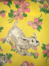 2 vintage novelty rare dogs and flowers cotton fabric curtain panels!