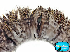 4 Inch Strip - GREY CHINCHILLA Strung Chinese Rooster Saddle feathers