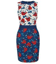 Oasis Size 8 Blue White Red Multi Stylised Botanical Floral Print Pencil Dress