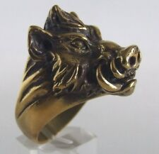 Bronze wild Boar Ring Custom Sized Just for you! Pig Hawg Animal Handmade R-99b