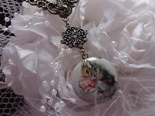 #JRB824 RABBIT BUNNY PHOTO ART GLASS PETER LOCKET NECKLACE Beatrice FAIRY TALE