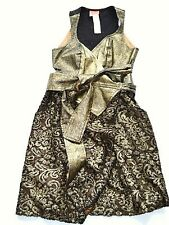 Christian Lacroix vintage gold-black wrap dress Made in France Size FR38 S