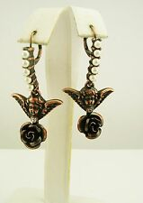Cynthia Garret Faux Pearl and Crystal Angel and Rose Lever-Back Drop Earrings