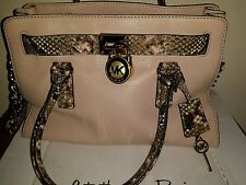 SALE~NWT MICHAEL KORS HAMILTON Blush Leather Handbag Satchel Purse PYTHON TRIM
