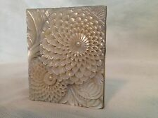 Vintage Faux Carved Flowers/Dahlia's/Zinnia's-Mother Of Pearl Compact Mirror
