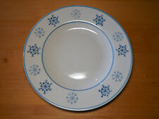 "Royal Norfolk BLUE SNOWFLAKE Set of 3 Dinner Plates 11 1/4"" Blue on Cream A"