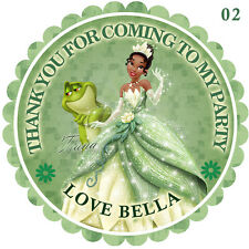 Personalised Princess  tiana Round  50mm x15 Stickers Party Thank You Seals