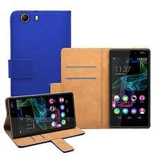WALLET Blu Flip Case Cover Pouch SAVER PER TELEFONO CELLULARE WIKO Ridge 4G