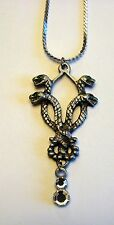 "NEW PEWTER 4 HEADED SERPANT DRAGON PENDANT WITH CRYSTALS and 24"" chain"