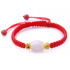 Fine Hetian Jade Bead & Pure 24K Yellow Gold 5.5mm Lucky Beads Knitted Bracelet