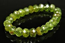Natural Peridot Micro-Faceted Small Rondell Bead - 5mm x 3.5mm - 24 beads -4737A