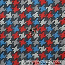 BonEful FABRIC FQ Cotton Quilt Gray White Red Blue Houndstooth VTG America Check
