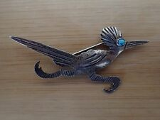 Sterling Silver Navajo Roadrunner Pin/Brooch with Turquoise Eye