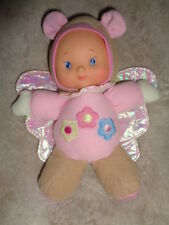 """Doll Butterfly Baby Pink Tan Crinkle Wings Rattle Squeak City Toy 9"""" plush vinyl"""