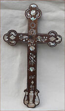 Chinese Mother of Pearl Inlayed Fruit Wood Crucifix Late 19th C