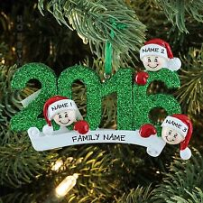 2016 Face Family Of 3 Personalized Christmas Tree Ornament Holiday Gift