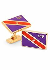 Sigma Phi Epsilon Fraternity / 14k gold plated cuff links w/ Official Flag color