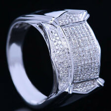 Sterling Silver 925 Pave .55ct Diamonds Engagement Men's Ring Band Round Cut