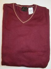 $125 Jos A Bank JOSEPH cotton and cashmere V neck Sweater in burgundy M