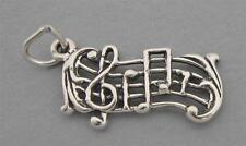 New Sterling Silver 925 Charm Pendant MUSIC SCORE TREBLE CLEF & NOTES 3968