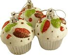 Cupcake Ornaments, Set of 3 Christmas Tree Glittery Bauble Decorations -Silver