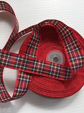 "7/8"" Scottish PLAID RIBBON Grosgrain Hair Bag Ribbon BIHFL"
