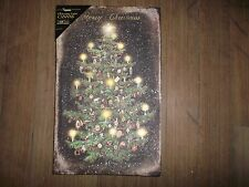 Battery Operated Lighted Canvas Print Christmas Tree Lights and Ornaments 10x16""