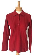 Abercrombie & Fitch Red Long Sleeve Collared 1/2 Button Sweater Small