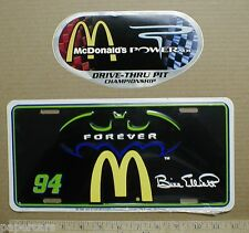 New McDonalds Batman Forever Nascar Metal Racing License plate tag topper decal