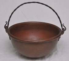 """ANTIQUE COPPER COOKING CANDY PAN POT IRON HANDLE 13"""" WIDE, 9 POUNDS"""