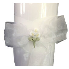 """white unity candle with calla lily flower stack candle 11"""" tall"""