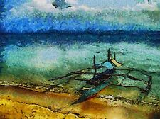LANDSCAPE SEA BEACH CANOE MAYON POSTER ART PRINT HOME PICTURE BB72A