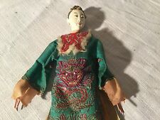 Antique Articulated Mandarin Opera Puppet Silk Embroidered Dragon Robe Doll