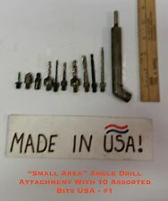 """Small Area"" Angle Drill Attachment W/10 Assorted Bits USA #1-Use any hand drill"