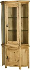 Genoa solid oak furniture glazed corner display cabinet stand unit