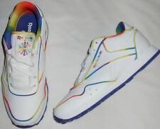 Shoes girls size 10.5M EUR 27 new athletic Reebok leather white rainbow trim