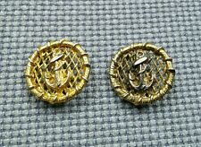2 Gold Tone Tarnished Metal Buttons 32mm Vintage Anchor Rope Nautical Sailor