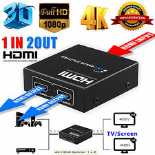 Ultra HD 4K 2 Port HDMI Splitter 1x2 Repeater Amplifier 1080P 3D Hub 1 In 2 Out
