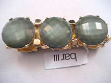 Bar III Gold Stretch Link Bangle Bracelet Green Round Crystals Beads Macy's New