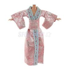 Pink Japanese Kimono Party Gown Dress Clothes For Barbie Dolls Accessories