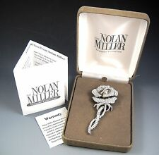 The Nolan Miller Glamour Collection Sophia Rose Rhinestone Brooch Pin with Box