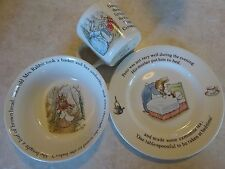 Vintage Wedgwood China Peter Rabbit Child's Cup Bowl Plate Feeding Set  England